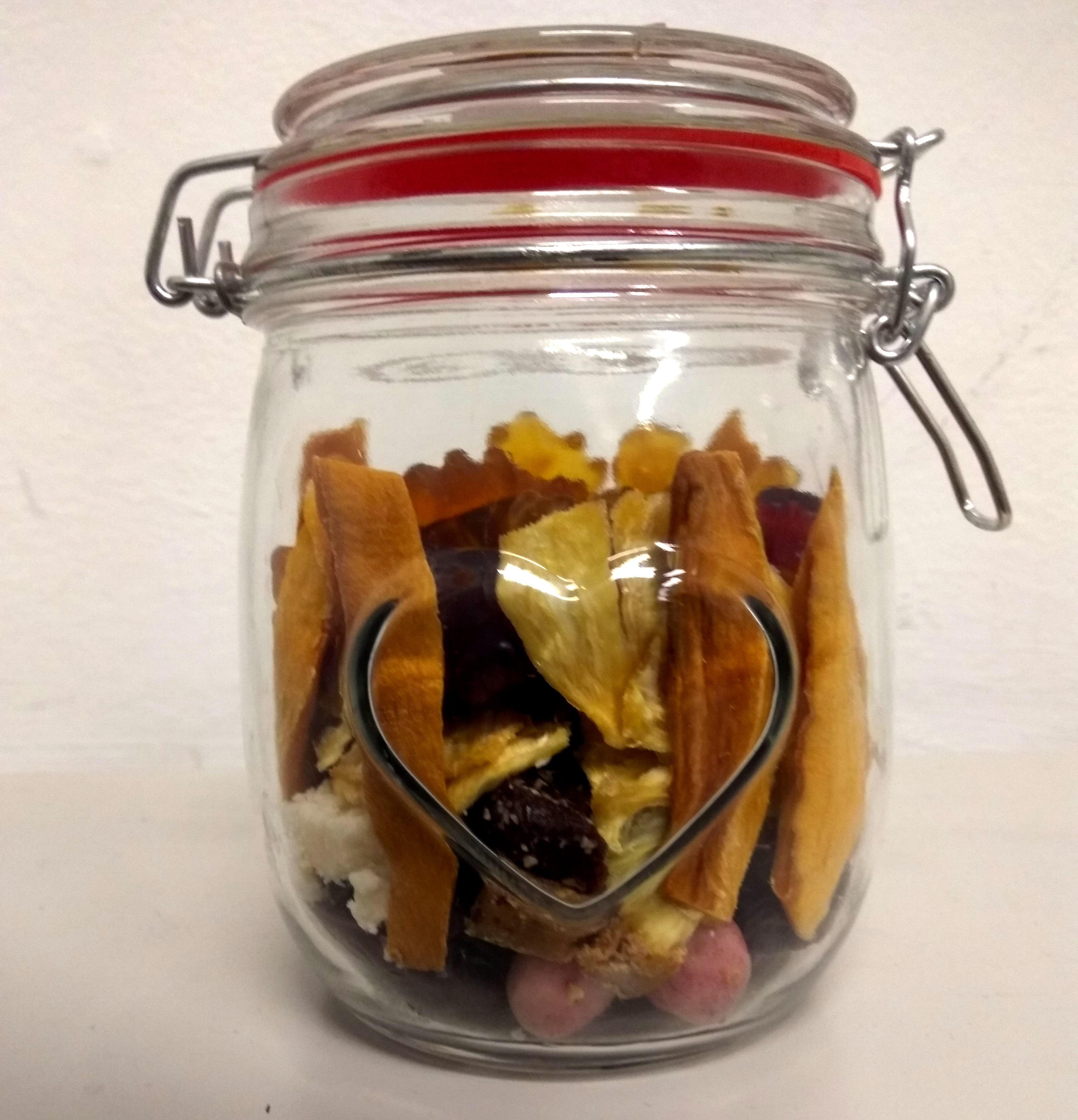 Geschenkglas, Frucht und Konfekt